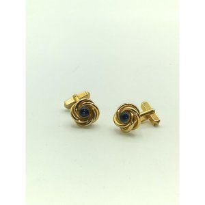 Vintage Swank Knot with Blue Glass Cuff Links